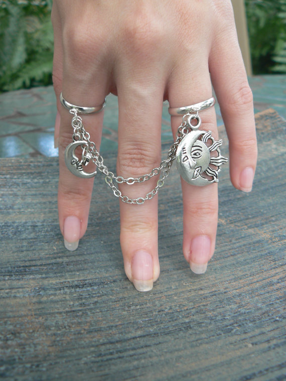 moon and sun double ring chained slave ring star door gildedingypsy