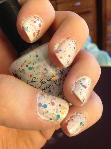 Amazon.com: Oh Splat White Glitter Nail Polish with Rainbow Glitters- 0.5 oz Full Sized Bottle: Beauty