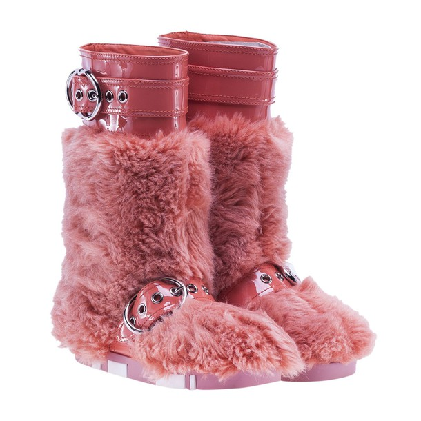 fur boots fur orange shoes