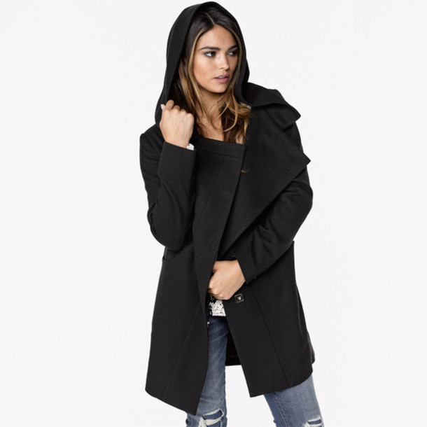 Jacket: coat, black, black hooded coat, black hooded jacket ...