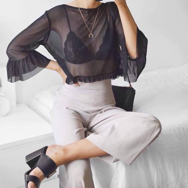9458206f60 pants tumblr grey pants wide-leg pants culottes top black top black crop  top crop