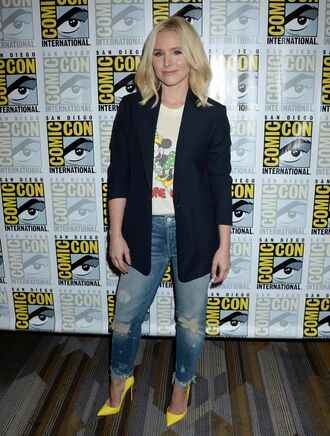 bag kristen bell jeans denim jacket top high heels shoes heels