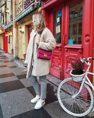coat tumblr nude coat teddy bear coat oversized oversized coat pants grey pants sneakers white sneakers bag pink bag