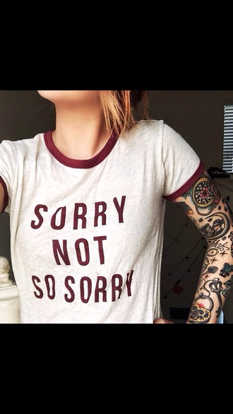 shirt red quote on it writing sorry white too t-shirt crop small black