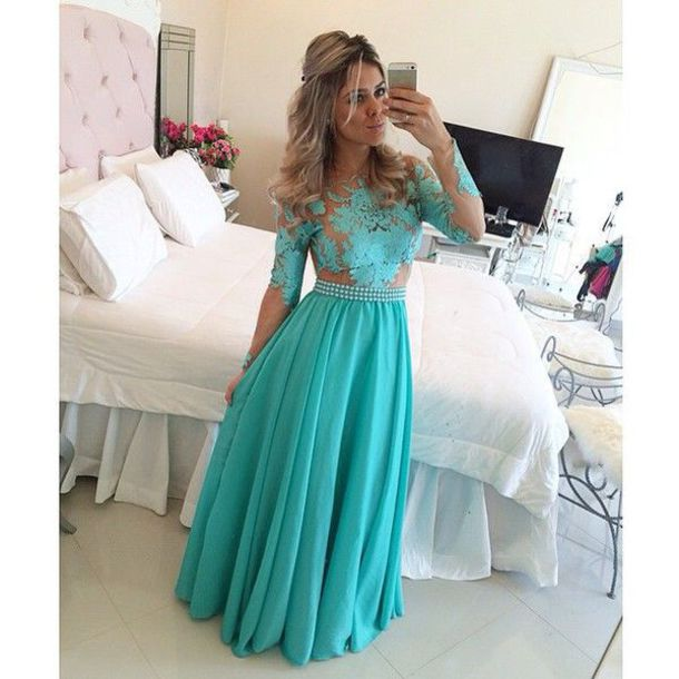 d731d505369c dress prom dress long sleeves long sleeve dress turquoise turquoise dress  prom prom gown sheer sheer