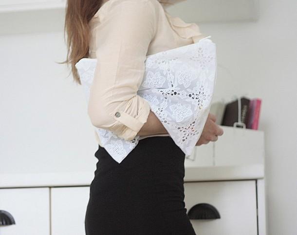 clutch boho lace white bag white bag