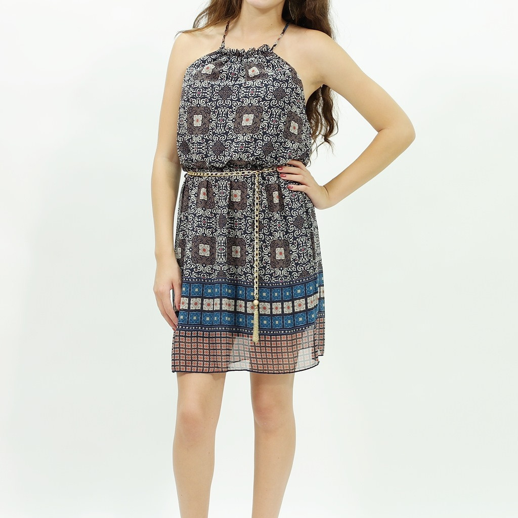 Bohemian table tapestry print navy dress with gold chain belt