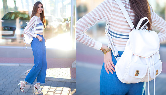 shirt white stripes fashion agony top jeans shoes jewels sheer mesh long sleeves crop tops