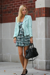 brooklyn blonde,dress,shoes,jacket,bag,sunglasses,jewels