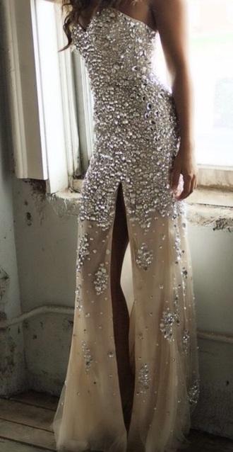 dress prom dress sequins goldish skirt top