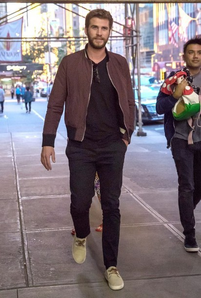 Jacket Bomber Jacket Liam Hemsworth Pants Menswear Mens Jacket