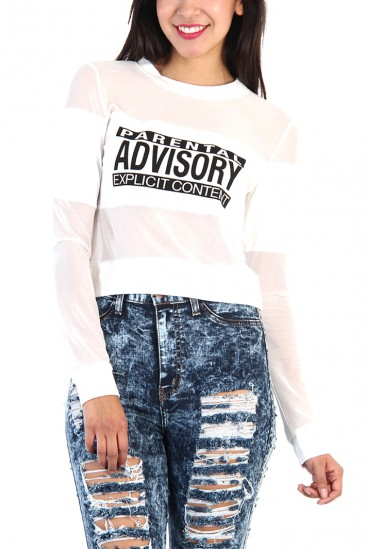 OMG Parental Advisory Mesh Cut Out Top - White
