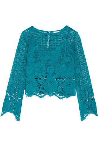 top cropped cotton turquoise