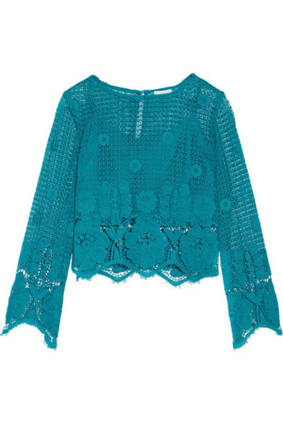 Miguelina top cropped cotton turquoise