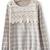 Grey Striped Long Sleeve Lace Sweater - Sheinside.com