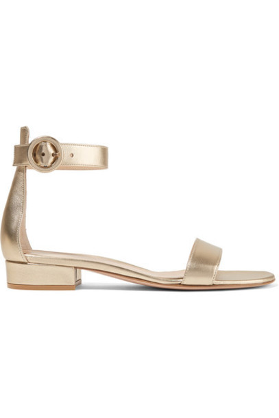 Gianvito Rossi metallic sandals leather sandals gold leather shoes