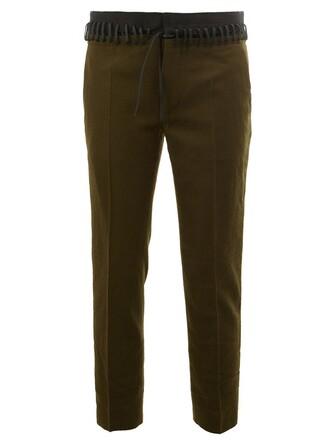 women cotton wool green pants