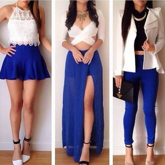 jacket dress pants blouse shoes jewels skirt blue skirt white white crop tops white blazer high heels gold shirt blue half shirt long sleeves top blue skirt with split blue skinny jeans