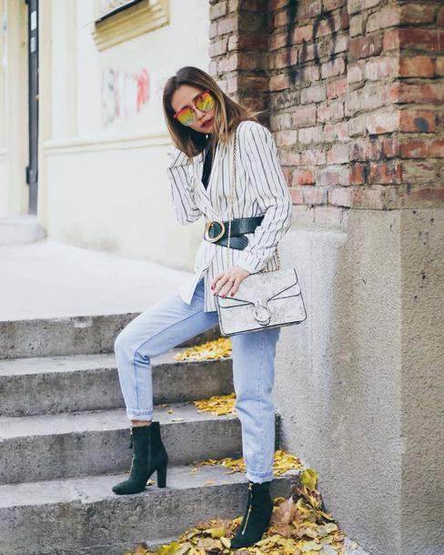 jacket tumblr blazer white blazer belt denim jeans blue jeans boots ankle boots bag