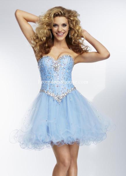 dress cute dress short prom dress robe de soirée courte pas cher homecoming dress prom dress blue blue dress rhinestones
