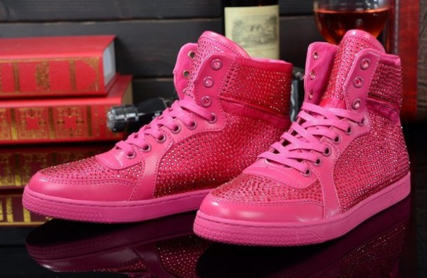 Shoes: gucci, pink, sneakers, diamonds - Wheretoget