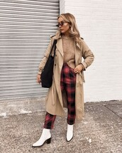pants,checkered pants,cropped pants,high waisted pants,ankle boots,white boots,coat,trench coat,shoulder bag,sunglasses,sweater,knitted sweater