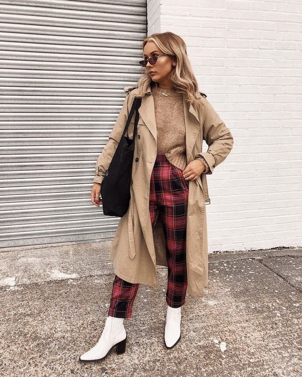 pants checkered pants cropped pants high waisted pants ankle boots white boots coat trench coat shoulder bag sunglasses sweater knitted sweater
