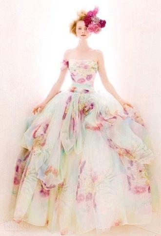 dress one shoulder off the shoulder floral floral dress long dress long prom dress prom dress long ball gown dress wedding dress pretty beautiful
