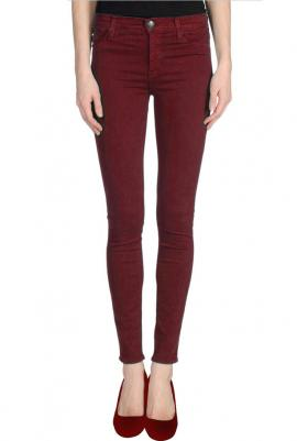 Hipster vibe low rise skinny jeans in burgundy