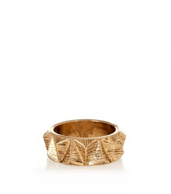 Gold Textured Triangle Ring