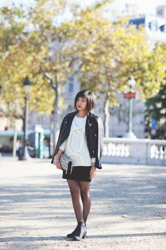 le monde de tokyobanhbao blogger tights jewels bag leather jacket knitwear irish sweater clutch perfecto eleven paris