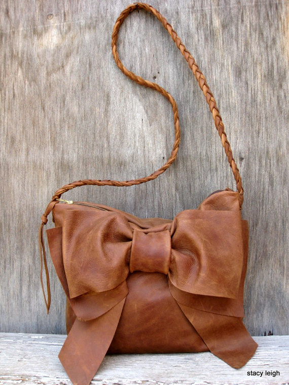2014 Bow Bag in Your Choice of Brown Leather by by stacyleigh