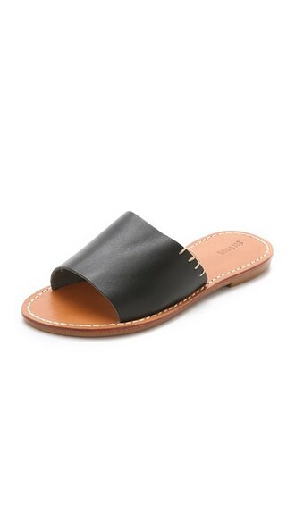 sandals leather black shoes