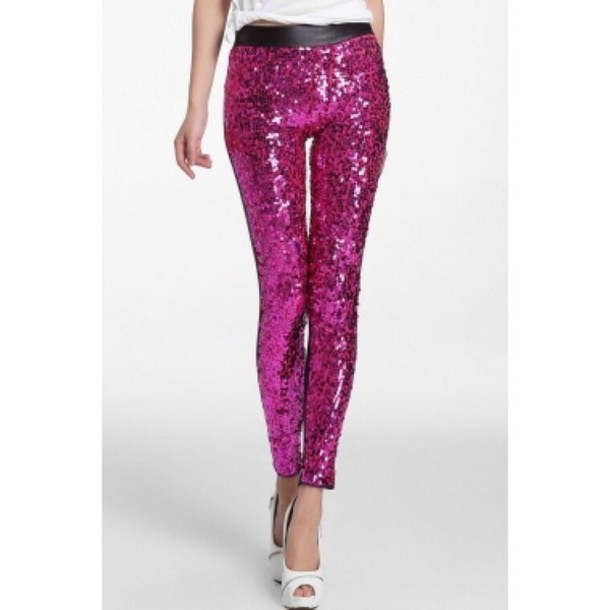 leggings sequins sequin pants clubwear pink