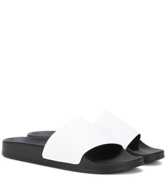 Balmain Leather and rubber slides in white