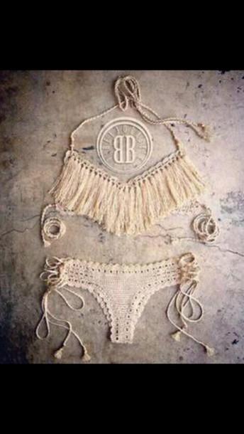 swimwear boho boho swimsuit bathin suit white swimwear seethrough underwear style fashion white hook fring hair accessory