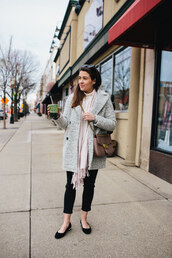 sequins and stripes,blogger,coat,scarf,sweater,jeans,bag,jewels,winter outfits,gucci bag,grey coat