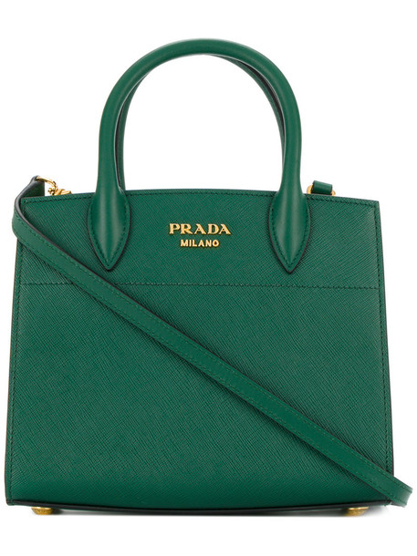 Prada women leather green bag