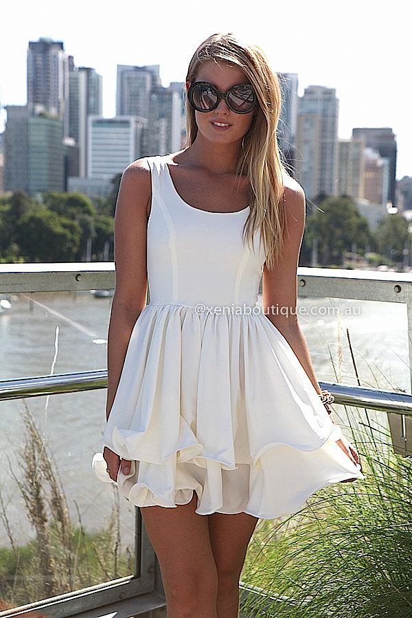 ELIXIR FRILL DRESS , DRESSES, TOPS, BOTTOMS, JACKETS & JUMPERS, ACCESSORIES, 50% OFF SALE, PRE ORDER, NEW ARRIVALS, PLAYSUIT, COLOUR, GIFT VOUCHER,,White,SLEEVELESS,MINI Australia, Queensland, Brisbane