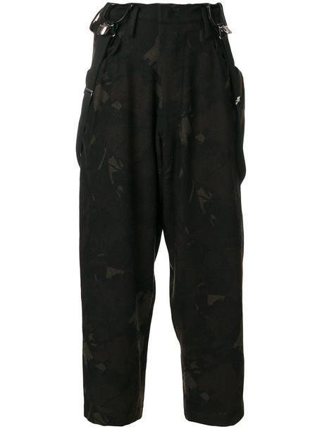 Y's cropped women wool green pants