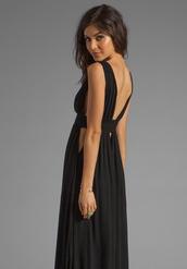 dress,empire waist,plunge neckline