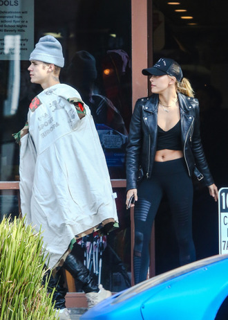biker jacket hailey baldwin hat crop tops leggings