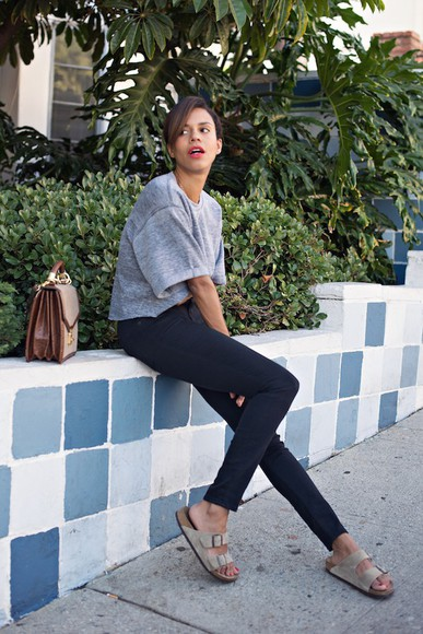 sweater grey grey sweater style me grasie leggings bag shoes birkenstocks casual blogger reformation purse summer outfits