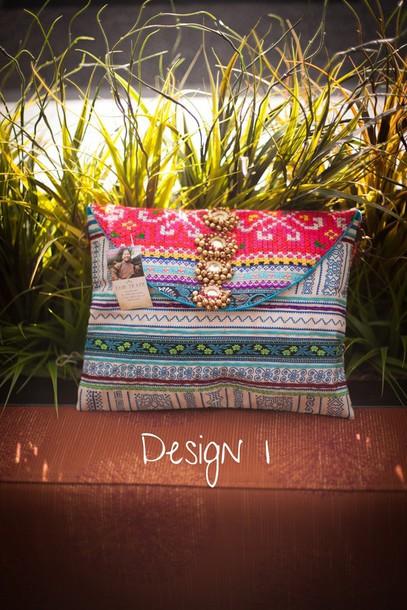 bag hmong tribal pattern clutch purse jewels fairtrade