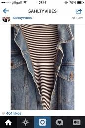 jacket,denim,stripes,chique,urban outfitters,t-shirt