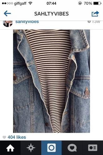 jacket denim stripes chique urban outfitters t-shirt