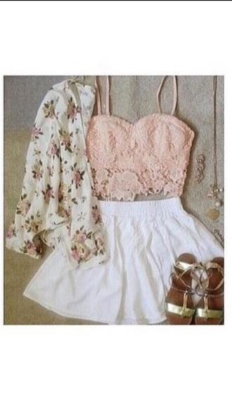top pink bra cardigan skirt shorts