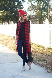 life with emily,blogger,pom pom beanie,flannel scarf,black sweater,ankle boots,sweater,scarf,hat,shoes,bag,sunglasses,make-up