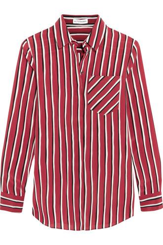 shirt silk red top