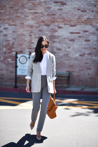 shirt tumblr white shirt office outfits blazer grey blazer bag brown bag pants grey pants pumps sunglasses jacket